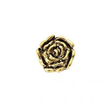 Large Flower Charm with Loop, Gold Colour, 23.5 x 24mm