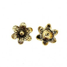 Large Flower Charm with Loop, Gold Colour, 19 x 22mm, Pack of 2