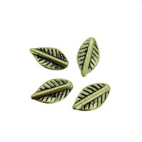 Lined Leaf Charms, Gold Colour, 11 x 20mm, Pack of 8