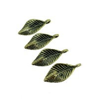 Leaf Charms, Gold Colour, 11 x 25mm, Pack of 4