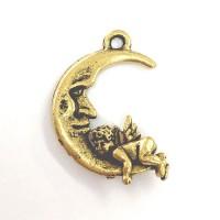 Moon & Cherub Charm, Antique Gold