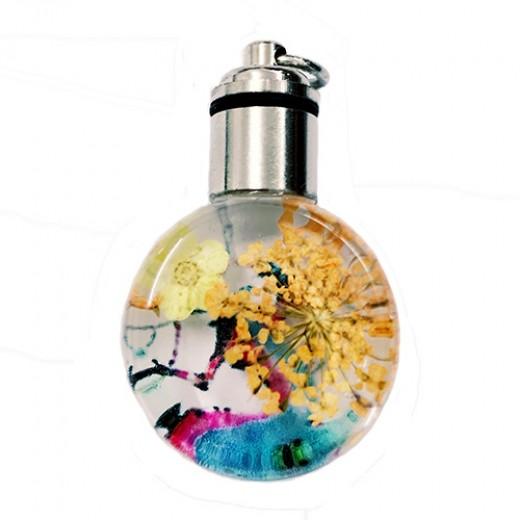 Dried Flower Glass Pendant, 25mm, Orange