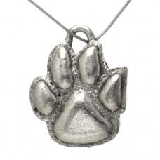 Antique Silver Paw Print Pendant / Charm