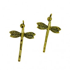 Dragonfly Charms, Gold Colour, 25 x 39mm, Pack of 4