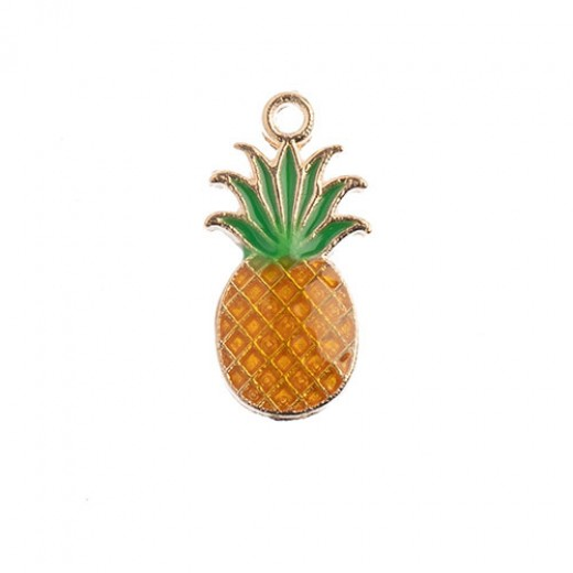 17 x 9mm Pineapple Charms, Yellow / Green, Pack of 10