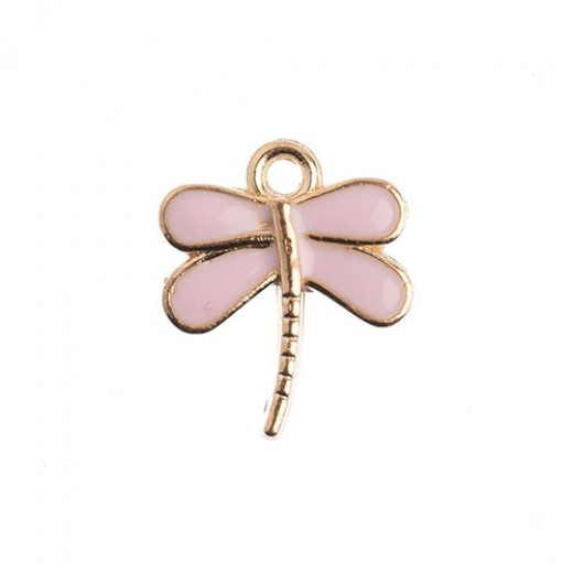 13 x 16mm Dragonfly Charms, Pink, Pack of 10