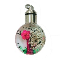 Dried Flower Glass Pendant, 25mm, Pink