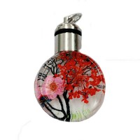 Dried Flower Glass Pendant, 25mm, Red