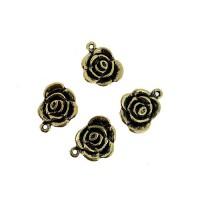Rose Connector Charms, Gold Colour, 14 x 17mm, Pack of 4