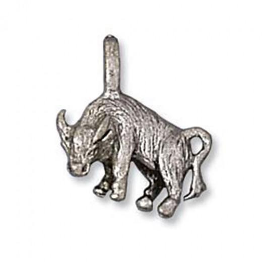 Taurus Bull Charm, Antique Silver
