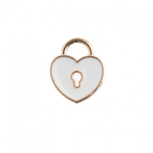 11 x 13mm Heart Locket Charms, White, Pack of 10