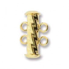 2-Strand 'Fluted' Cylindrical Clasp, 17mm, Gold