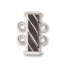 2-Strand 'Fluted' Rectangular  Clasp, 17mm, Silver