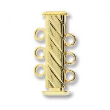 3-Strand 'Fluted' Cylindrical Clasp, 21mm, Gold