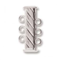 3-Strand 'Fluted' Cylindrical Clasp, 21mm, Silver