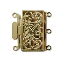 3-Strand 22mm Push-Pull Clasp, Gold Plated