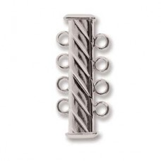 4-Strand 'Fluted' Cylindrical Clasp, 26mm, Silver