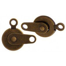 7.5mm Push Button Clasps, Antique Gold Colour, Pack of 5