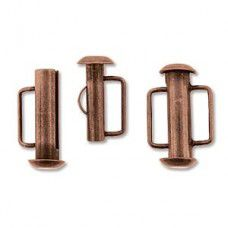 16.5mm Slide Bar Clasp, Antique Copper Plated