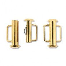 16.5mm Slide Bar Clasp, Gold Plated