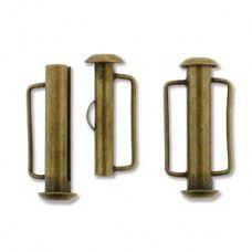 21.5mm Slide Bar Clasp, Antique Brass Plated
