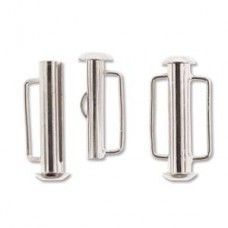 21.5mm Slide Bar Clasp, Silver Plated