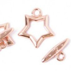 15mm Fancy Star Toggle Clasps, Rose Gold, Pack of 2