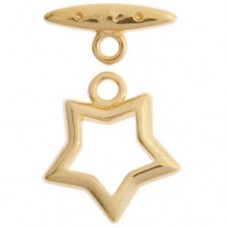 15mm Fancy Star Toggle Clasps, Gold, Pack of 2