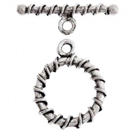 18mm Stitched Fancy Toggle Clasp, Antique Silver