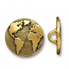 'World' 17mm Button Clasp, 12mm, Antique Gold Plated