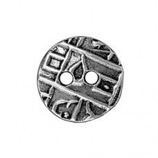 Round Coin Antique Silver Plated Button, 17mm