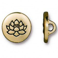 Lotus Flower Button Clasp, 12mm, Antique Gold Plated