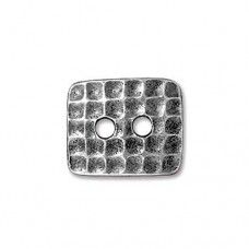 Rectangle Hammer Finish Antique Silver Plated Button, 16mm, pack of 2pcs