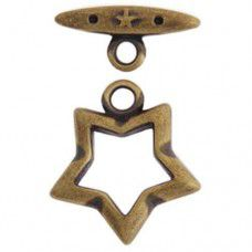 15mm Fancy Star Toggle Clasps, Antique Gold, Pack of 2