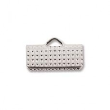13mm Silver Plated flat crimp end, pack of 12pcs