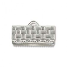 17mm x 10mm extra wide Silver Plated flat crimp end, pack of 12pcs