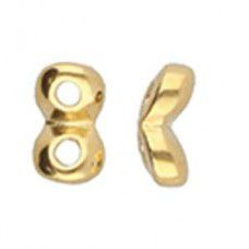 Kaparia Superduo Side Beads - 24kt Gold Plate, Pack of 2