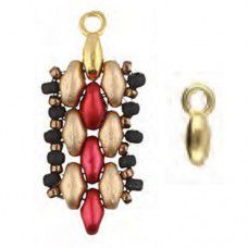 Vourkoti Bead Ending for Superduo Beads - 24Kt Gold Plated, Pack of 2