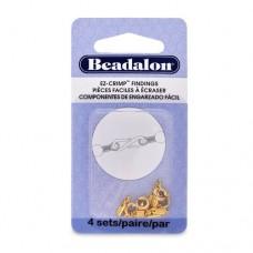 Beadalon 321A-120 EZ Crimp Spring Ring, Gold Plated, 4 Pcs