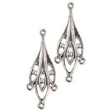 Chandelier Earring 34mm 4 Ring, Antique Silver Colour, 1 Pair