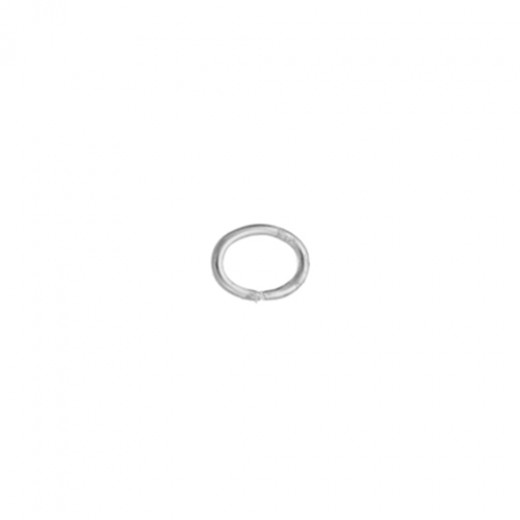 4 x 5 mm Oval Silver Plated Jump Rings, 100 Pieces