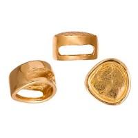13 x 15mm Gold Baroque Round Hammered Slider, 3 Pcs