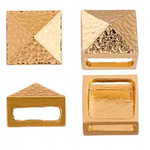 10 x 13mm Square Spike Slider, Gold, 2 Pcs