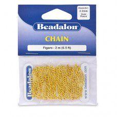 Beadalon 340A-040 Small Figaro Chain, Gold, 2 Metre Length