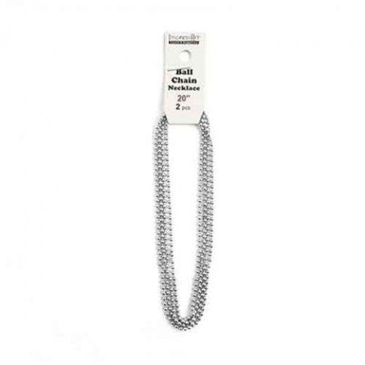 "ImpressArt Ball Chain Pendant, Pack of 2, Aluminium, 20"""