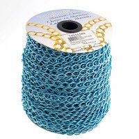 Aqua Aluminium Chain, 11 x 8mm, 1 Metre Length