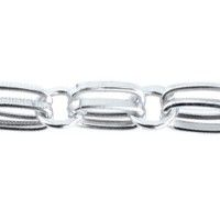 Double Ring Pattern Chain, 10mm, Silver Plated, 70cm