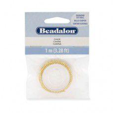 Beadalon 340A-054 Double Ball Chain, Gold Plated, 1 Metre Length