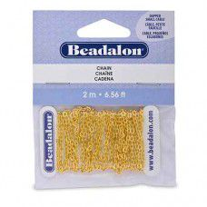 Beadalon 340A-004 Small Dapped Cable Chain, Gold, 2 Metre Length