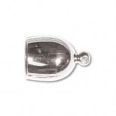 Bullet End Cap 8mm, Silver Plated, 1 Set